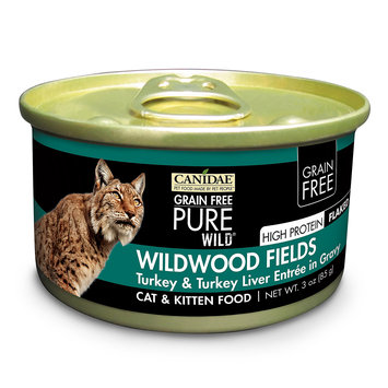 Canidae Grain Free Pure Wild Wildwood Fields Cat Wet Food With Turkey & Turkey Liver, 3 oz (18-pack)