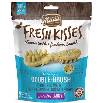 Merrick Fresh Kisses Mint Breath Strips Large Brush Dental Dog Treats, 4 Count