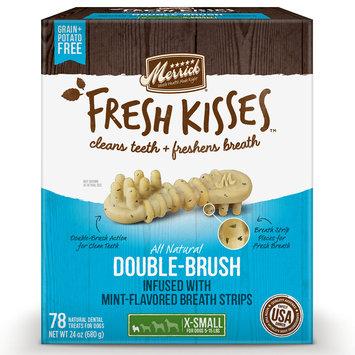 Merrick Fresh Kisses Mint Breath Strips Extra Small Brush Dental Dog Treats, 78 Count