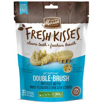 Merrick Fresh Kisses Mint Breath Strips Extra Small Brush Dental Dog Treats, 33 Count