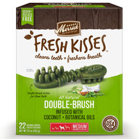 Merrick Fresh Kisses Coconut Oil + Botanicals Medium Brush Dental Dog Treats, 22 Count