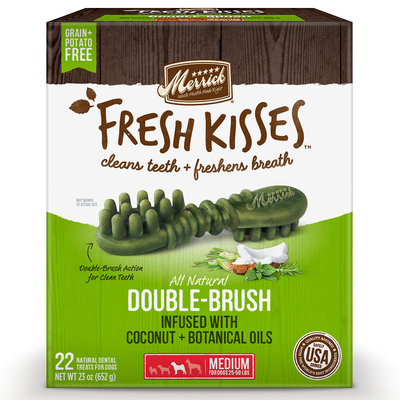 Merrick Fresh Kisses Coconut Oil + Botanicals Medium Brush Dental Dog Treats, 22 Count