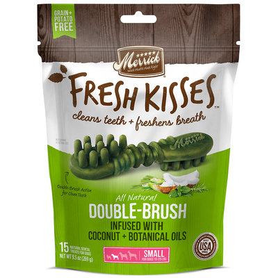 Merrick Fresh Kisses Coconut Oil + Botanicals Small Brush Dental Dog Treats, 15 Count