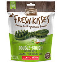 Merrick Fresh Kisses Coconut Oil + Botanicals Medium Brush Dental Dog Treats, 6 Count