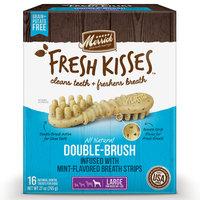 Merrick Fresh Kisses Mint Breath Strips Large Brush Dental Dog Treats, 16 Count