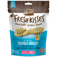 Merrick Fresh Kisses Mint Breath Strips Small Brush Dental Dog Treats, 15 Count