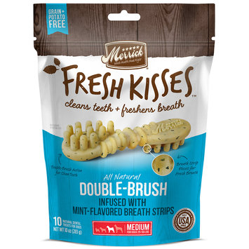 Merrick Fresh Kisses Mint Breath Strips Medium Brush Dental Dog Treats, 10 Count