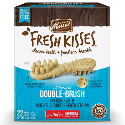 Merrick Fresh Kisses Mint Breath Strips Medium Brush Dental Dog Treats, 22 Count