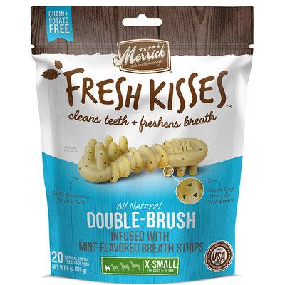 Merrick Fresh Kisses Mint Breath Strips Extra Small Brush Dental Dog Treats, 20 Count