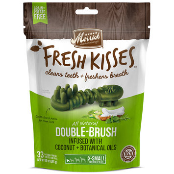 Merrick Fresh Kisses Coconut Oil + Botanicals Extra Small Brush Dental Dog Treats, 33 Count