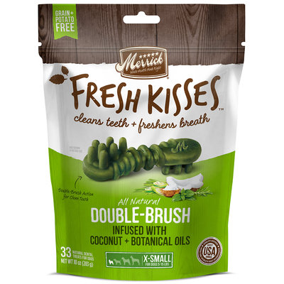 Merrick Fresh Kisses Coconut Oil + Botanicals Extra Small Brush Dental Dog Treats, 33 Count