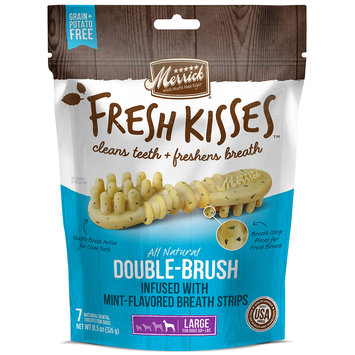 Merrick Fresh Kisses Mint Breath Strips Large Brush Dental Dog Treats, 7 Count