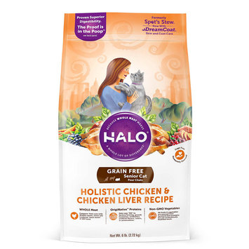 Halo Grain Free Senior Holistic Chicken & Chicken Liver Dry Cat Food, 6 lbs