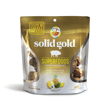 Solid Gold Grain Free Pork, Pineapple & Thyme Small & Toy Breed Chewy Dog Treats, 4 oz.