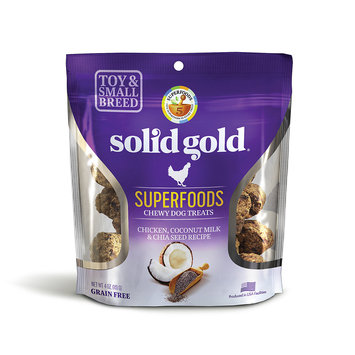 Solid Gold Grain Free Chicken, Coconut Milk & Chia Seed Small & Toy Breed Chewy Dog Treats, 4 oz.