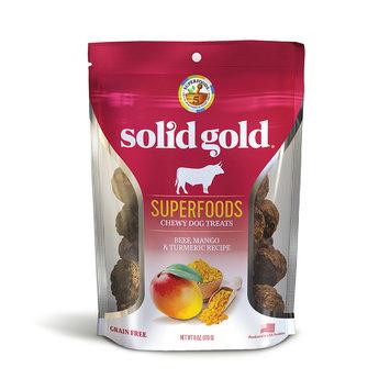Solid Gold Grain Free Beef, Mango & Turmeric Natural Chewy Dog Treats, 6 oz.