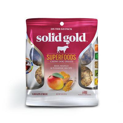 Solid Gold Grain Free Beef, Mango & Turmeric Natural Chewy Dog Treats, 2 oz.