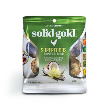 Solid Gold Grain Free Chicken, Coconut & Vanilla Natural Chewy Dog Treats, 2 oz.