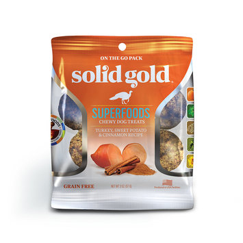 Solid Gold Grain Free Turkey, Sweet Potato & Cinnamon Natural Chewy Dog Treats, 2 oz.