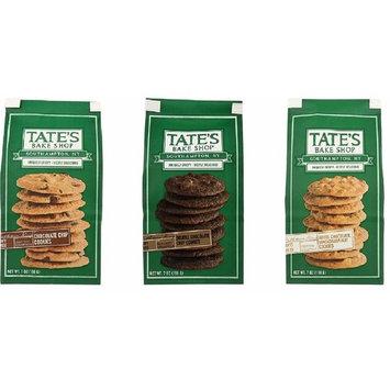 Tate's Bake Shop Cookies 3 Flavor Variety Bundle: (1) Tate's Chocolate Chip Cookies, (1) Tate's Double Chocolate Chip Cookies, & (1) Tate's White Chocolate Macadamia Nut Cookies, 7 oz ea