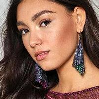 Missgrace Women Bohemian Round Earrings Vintage National Wind Hollow Leaves Gem Water Drops Tassel Earrings