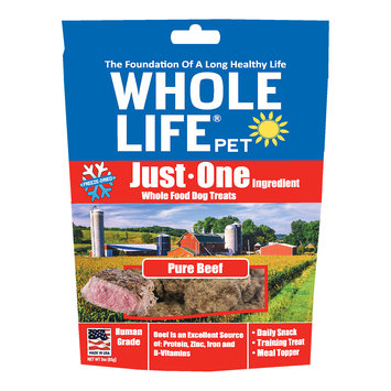Whole Life Pet Single Ingredient USA Freeze Dried Beef Treats for Dogs, 3 oz.