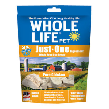 Whole Life Pet Single Ingredient USA Freeze Dried Chicken Treats for Dogs, 3 oz.
