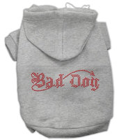 Mirage Pet Products 5407 SMGY Bad Dog Rhinestone Hoodies Grey S 10
