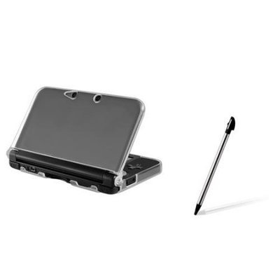 Insten Clear TPU Gel Rubber Soft Skin Case + Retractable Touch Pen Stylus for Nintendo 3DS XL