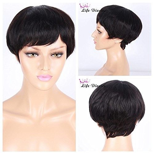 """Life Diaries Cut Short Brazilian Human Hair Wig Can Dye Natural Color Natural Wave Curly Glueless Wig For Women(6"""",nature color)"""