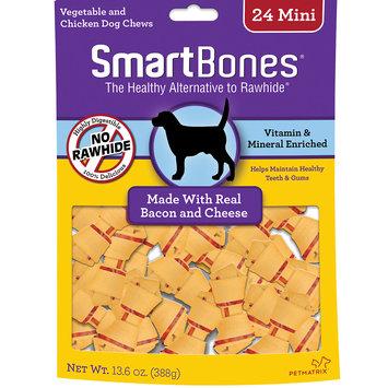 SmartBones Mini Bacon & Cheese Bone Dog Treats, 13.7 oz, Pack of 24