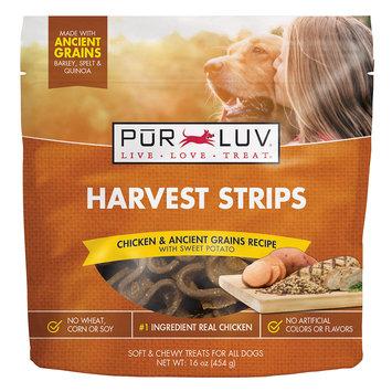 Pur Luv Harvest Strips Chicken & Ancient Grains Recipe with Sweet Potato Dog Treats, 16 oz, Medium