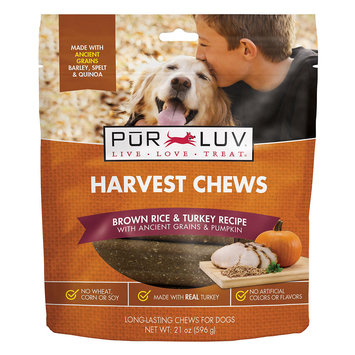 Pur Luv Harvest Chews Brown Rice & Turkey Recipe with Ancient Grains & Pumpkin Dog Treats, 21 oz, Medium
