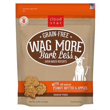 Cloud Star Wag More Bark Less Grain Free Peanut Butter & Apples Dog Treats, 2.5 lbs.