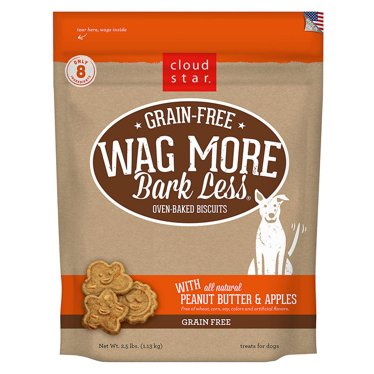 Cloud Star Wag More Bark Less Grain Free Peanut Butter & Apples Dog Treats, 2.5 lbs.