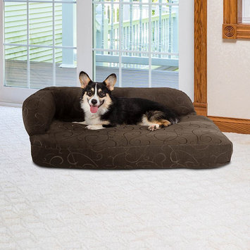 Paus Deluxe Jacquard Chaise Lounge Pet Bed, Brown