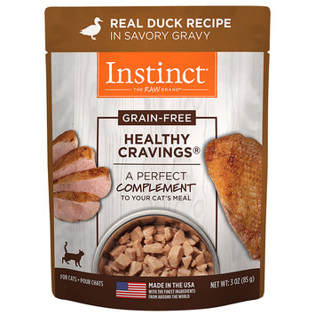 Natures Variety Nature's Variety Instinct Healthy Cravings Grain Free Real Duck Recipe Natural Wet Cat Food Topper, 3 oz. Pouches, Case of 24