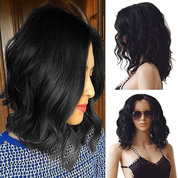 Glueless Body Wave Lace Front Wigs Mid-length Loose Synthetic Hair Bob Wig for Women+Free Gift Elastic Weaving Cap (Off Black 1B)