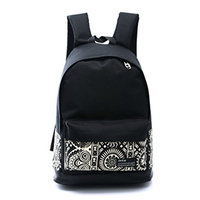 Moolecole College Style Casual Girl Student Backpack Canvas Rucksack Travel School Shoulder Bag Daypack Colorful Face