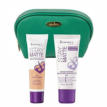 Two Piece Kit Rimmel Stay Matte Foundation Classic Beige and Stay Matte Primer with Sea Green Draizee Leather Cosmetic Bag