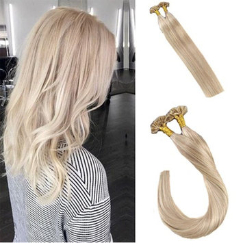 LaaVoo 14Inch Pre Bonded U Tip/Nail Tip Hair Extensions Ash Brown Mixed Blonde Remy Real Hair Extensions 50g Per Pack