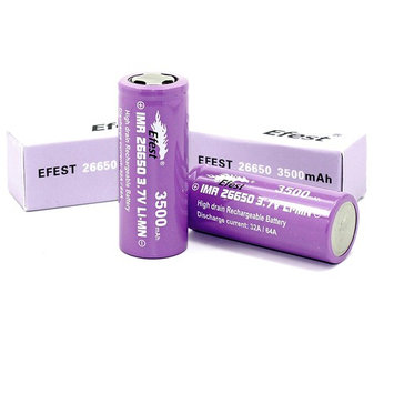 2 EFST IMR 18650 2500 mAh 3.7V LI-MN High Drain Rechargeable Battery, Flat Top, 35 AMPS