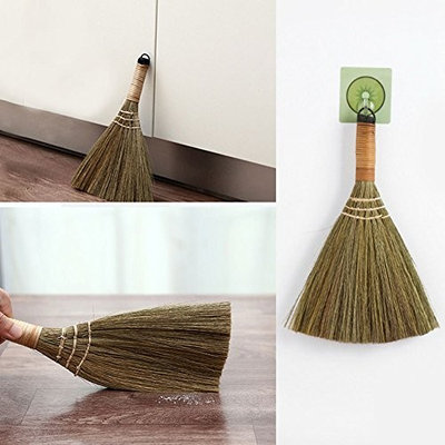 Mini Handmade Broom, Wood Handle Retro Nature No Static Electricity Sweeping Broom, Household Wall Window Sill Carpet Tatami Cleaning Tool For Sofa, Car, Corner...