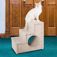 Paus Carpeted 3-Step Pet Stairs, Beig/Green (Beig/Khaki)