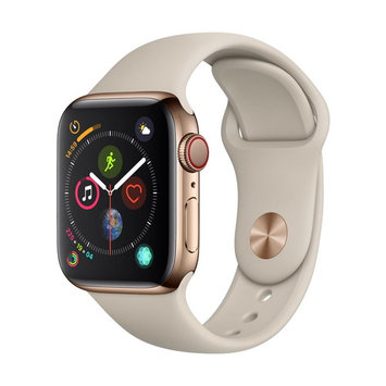 Refurbished Apple Watch Gen 4 Series 4 Cell 44mm Gold Stainless Steel - Stone Sport Band MTV72LL/A