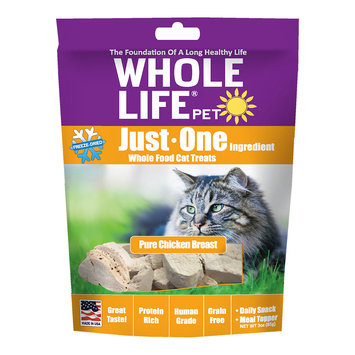 Whole Life Pet Single Ingredient USA Freeze Dried Chicken Treats for Cats, 3-Ounce