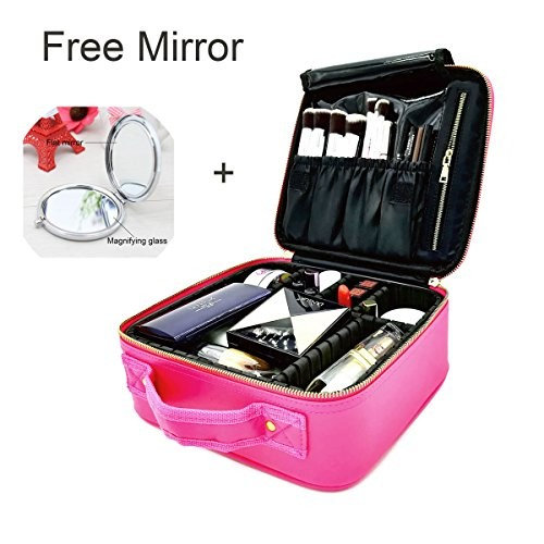 """Makeup Train Case/Cosmetic Bags, PU Leather Portable Makeup bag/Organizer 10.2"""" Travel Cosmetic Case with Adjustable Dividers and Exquisite Small Magic Mirror for Home & Travel [Best Gift for Girls] []"""