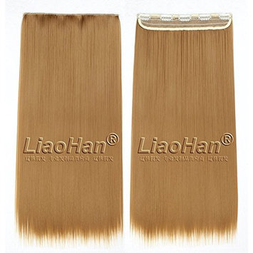 Straight Long Clip in Golden Brown Hair Extensions 3/4 Full Head Synthetic Hair Clip in on Brown Hairpieces