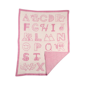 Livingtextilesbaby My First Alphabet Knitted Fuzzy Baby Blanket Color: Pink