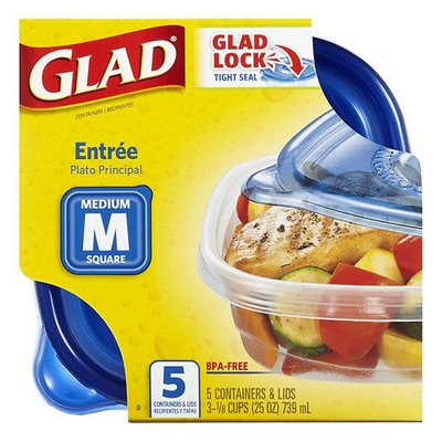 Gladware Food Storage Containers, Entree 25 oz 5.0ea